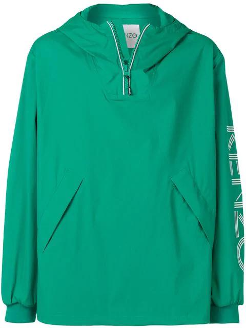Kenzo Logo Print Windbreaker In 57 Green