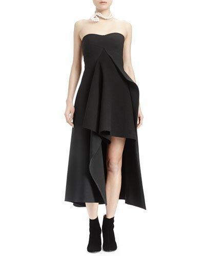 Stella Mccartney Strapless Split-Front Asymmetric Gown, Black