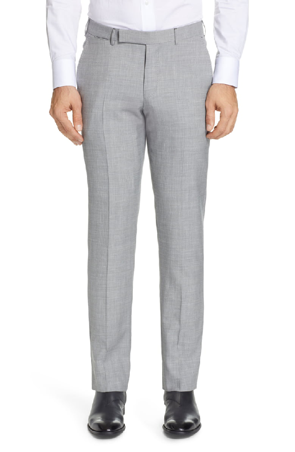 Ermenegildo Zegna Trofeo Flat Front Solid Wool Blend Dress Pants In Light Grey