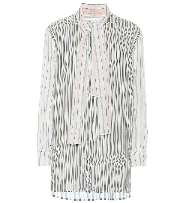 Jw Anderson Pajama Stripe Tie Neck Blouse In Multicoloured