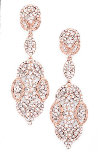 Nina 'glamorous' Crystal Drop Earrings In Rose