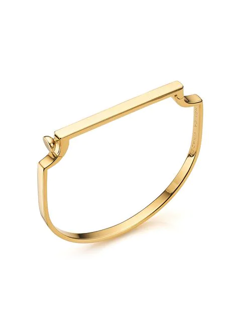 Monica Vinader Engravable Signature Thin Bangle Bracelet In Gold