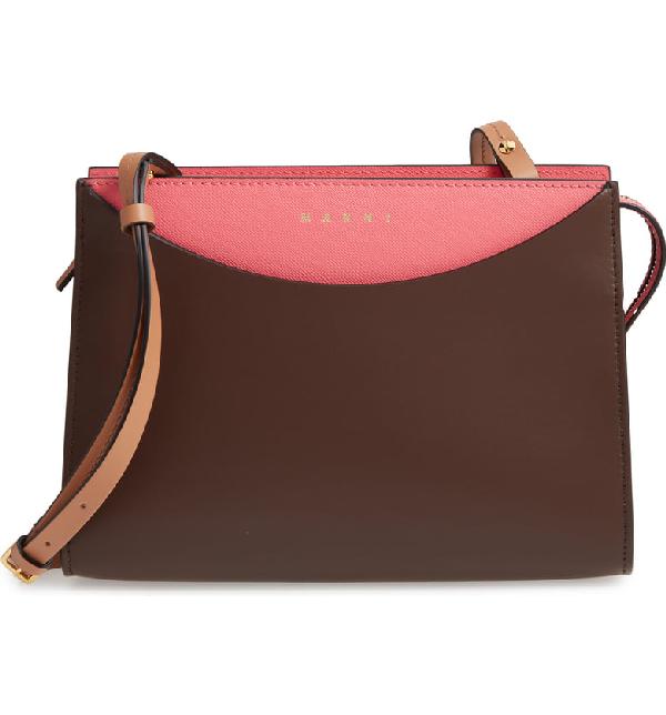 Marni Law Colorblock Leather Clutch - Brown In Dark Chocolate/ Fuschia