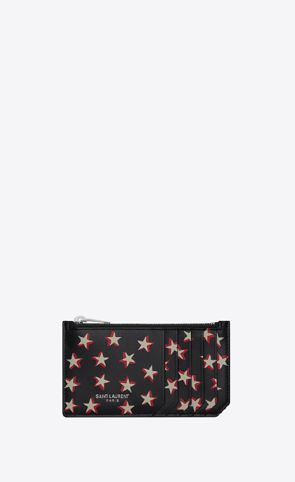 128af603d7 Fragment Card Holder In Soft Leather With A Star Print in Black