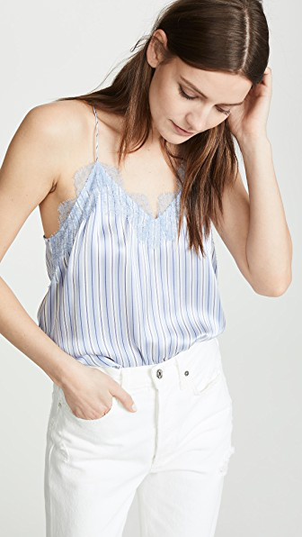 Cami Nyc The Racer Charmeuse Cami In Cornflower Stripe