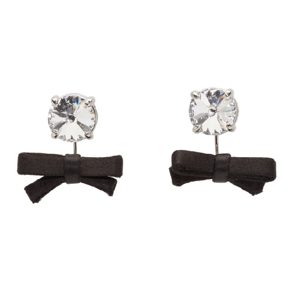 Miu Miu Black Crystal Bow Earrings In F0002 Black