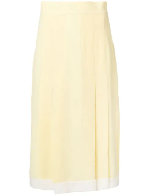 Cashmere In Love High-waisted Pleated Skirt In Yellow