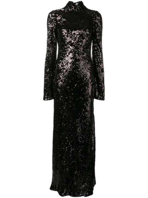 Galvan Moonlight Oasis Long Dress In Black