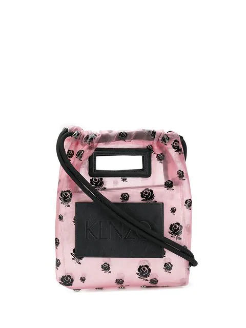 Kenzo Roses Print Bucket Bag In Pink