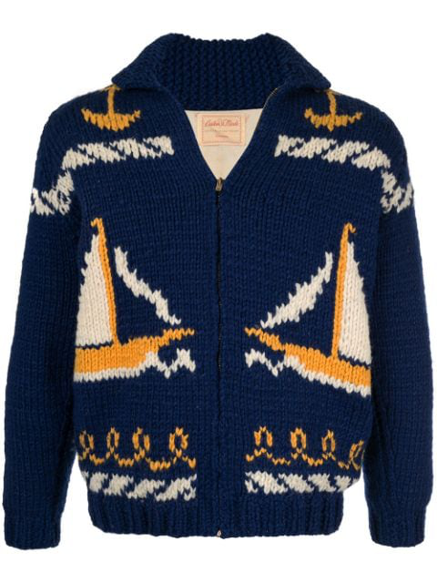 Pre-owned Fake Alpha Vintage Intarsia Knit Cardigan In Blue