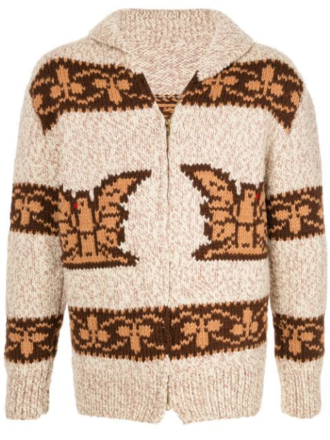 Pre-owned Fake Alpha Vintage Intarsia Knit Cardigan In Brown