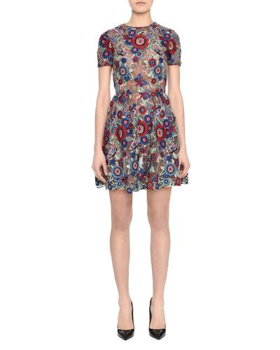 Valentino Short-Sleeve Jewel-Neck Lace Applique Dress, Floral