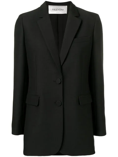 Valentino Corded Lace-paneled Wool And Silk-blend Blazer In Black