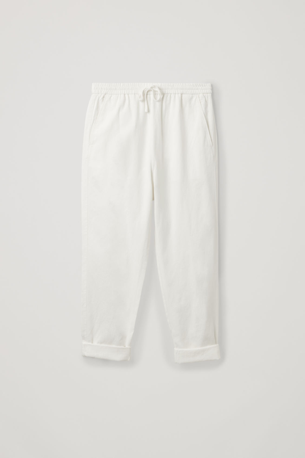 Cos Relaxed Cotton-linen Trousers In White
