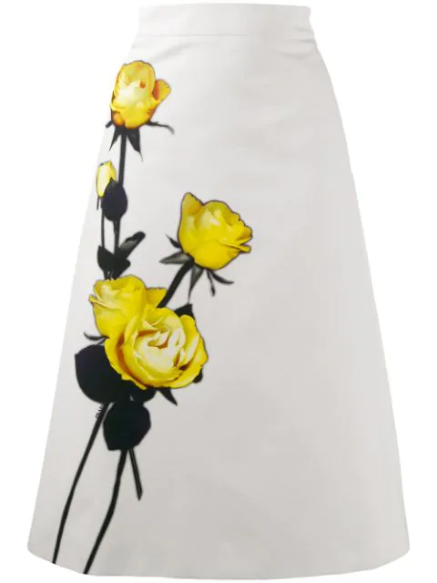 Prada AppliquÉD Floral-Print Cotton-Crepe Midi Skirt In White
