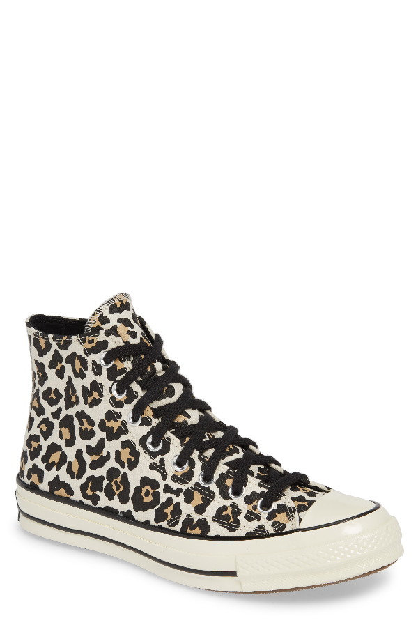 Women's Chuck Taylor All Star Leopard Print High Top Sneakers in Driftwood Light Fawn