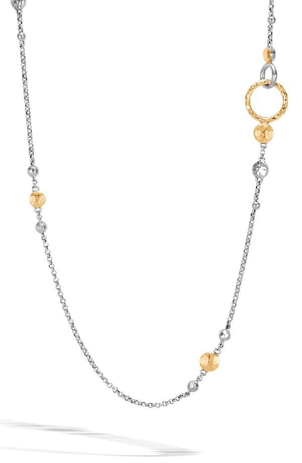John Hardy 18K Yellow Gold & Sterling Silver Dot Hammered Station Necklace, 36 In Silver/ Gold
