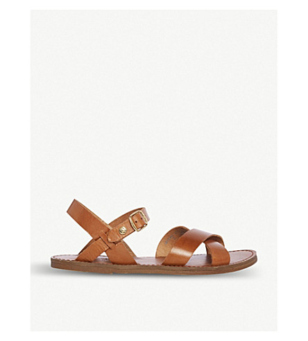 Dune Lavell Cross-Strap Leather Sandals In Tan-Leather