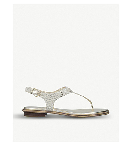 Michael Michael Kors Mk Plate Leather And Metallic Mesh Sandals In White/comb