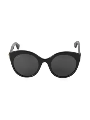 Gucci 52Mm Round Sunglasses In Black