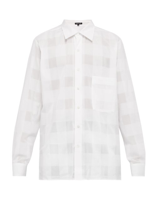Ann Demeulemeester Checked Cotton Shirt In White