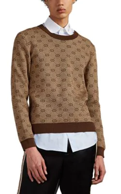 80ad3b48390 Gucci Gg-Jacquard Wool-Cotton Sweater - Beige, Tan | ModeSens