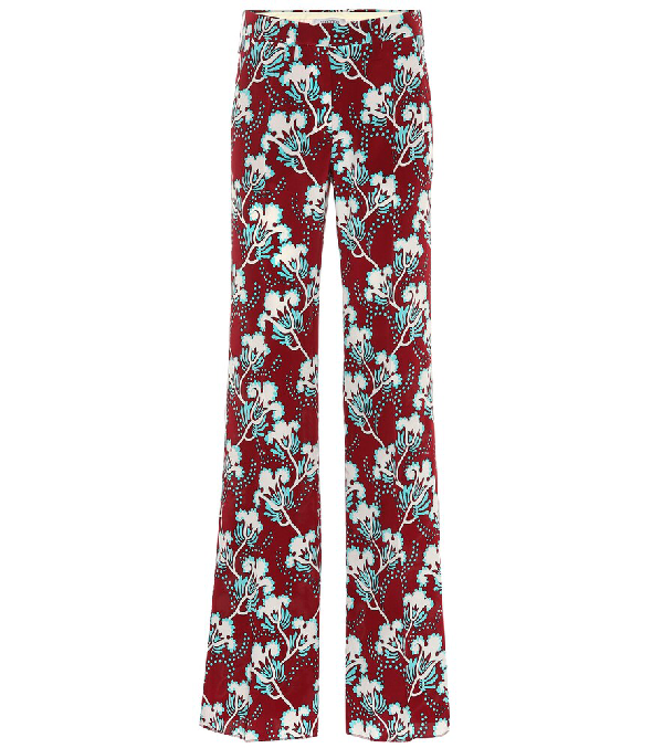 Valentino Elderflower Print Wide Leg Silk Pants In Red