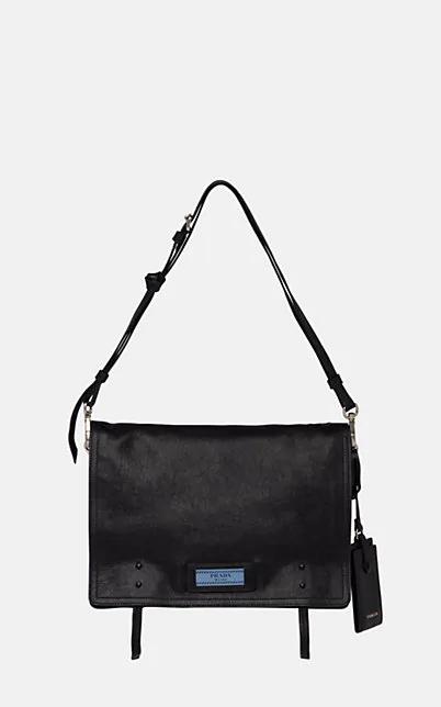 Prada Etiquette Medium Leather Messenger Bag - Black