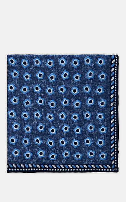 Paolo Albizzati Medallion-Print Wool Pocket Square - Navy