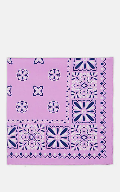 Paolo Albizzati Medallion-Print Silk Pocket Square - Lilac