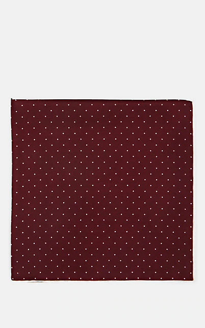 Paolo Albizzati Dot-Pattern Silk Pocket Square - Wine
