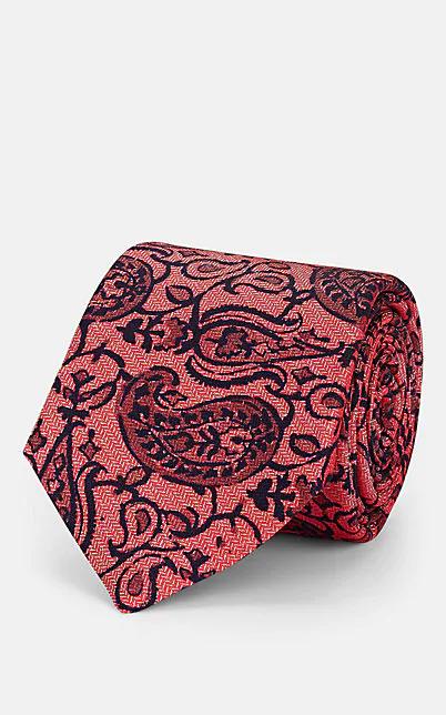 Kiton Paisley Silk Herringbone Necktie - Red