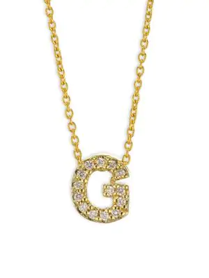 Roberto Coin Tiny Treasures Diamond & 18K Yellow Gold Initial Necklace In Initial G