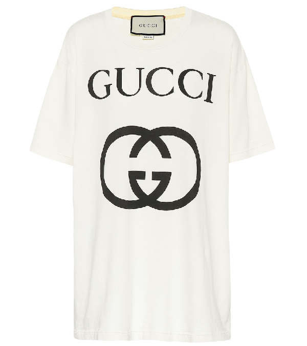 124aa569 Gucci Short-Sleeve Interlock Gg-Logo Cotton Jersey T-Shirt In White ...