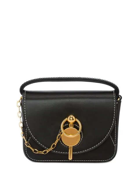 Jw Anderson Nano Lock Leather Convertible Crossbody Bag In Black