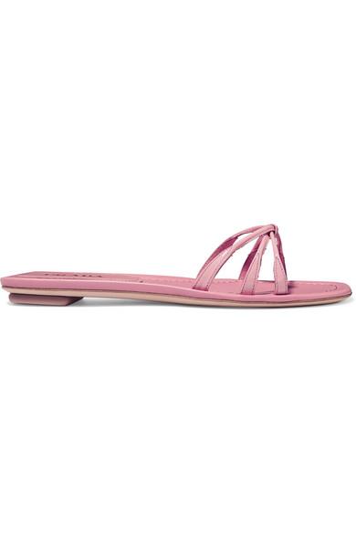 Prada Patent-Leather Slides In Pink