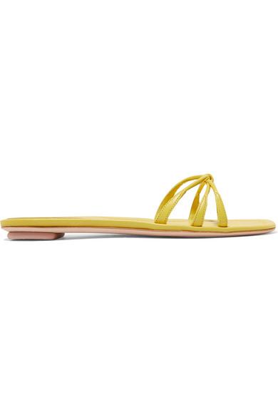 Prada Leather Slides In Yellow