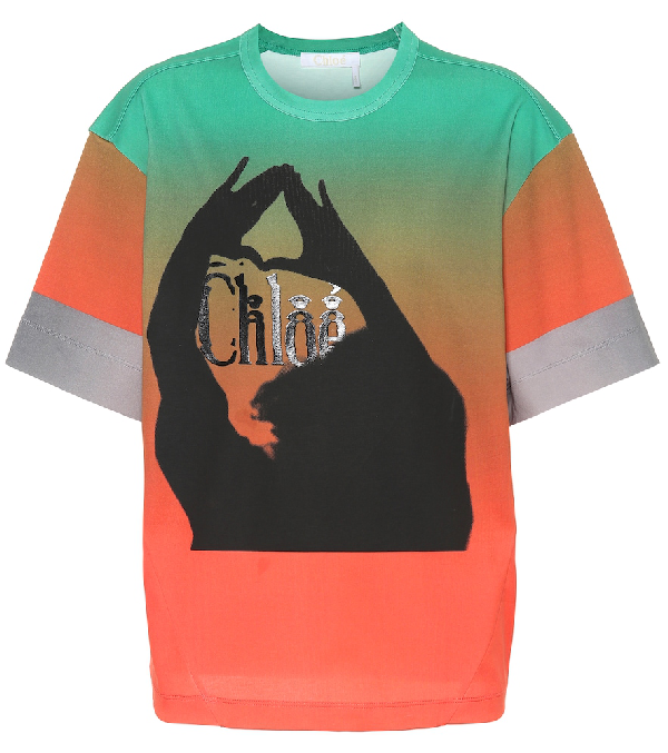 ChloÉ Oversized Printed OmbrÉ Mercerized Cotton-Jersey T-Shirt In Green