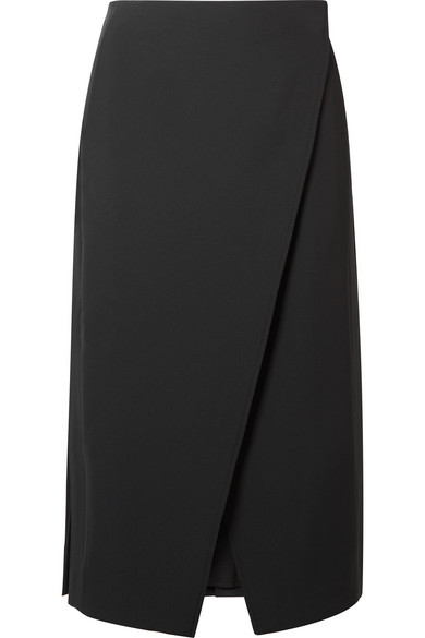 Beaufille Kari Pleated Twill Wrap Skirt In Black