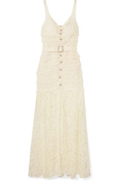 Alessandra Rich Crystal-Embellished Button-Detailed Cotton-Blend Lace Gown In Cream