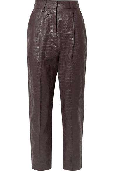 Beaufille Nova Croc-Effect Coated-Linen Tapered Pants In Plum