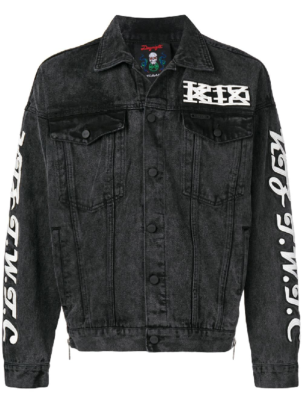 Ktz Embroidered Denim Jacket - Black