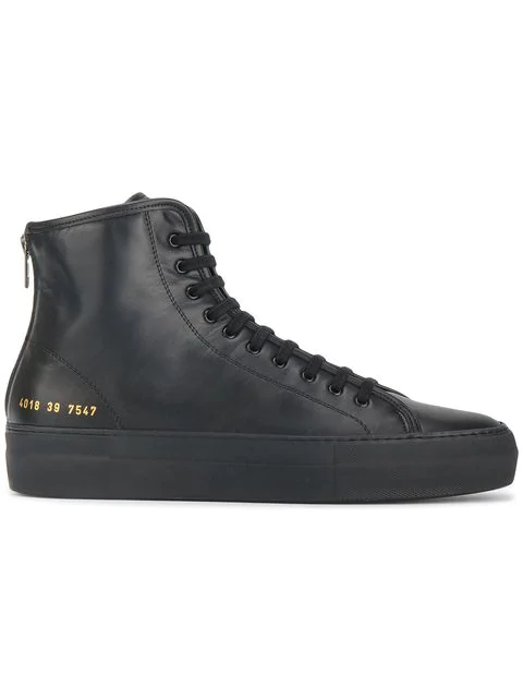 Common Projects Tournament High-Top Leather Flatform Trainers In Black