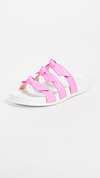 Alexandre Birman Lolita Bow Slide Sandal In Pink Fluo/White