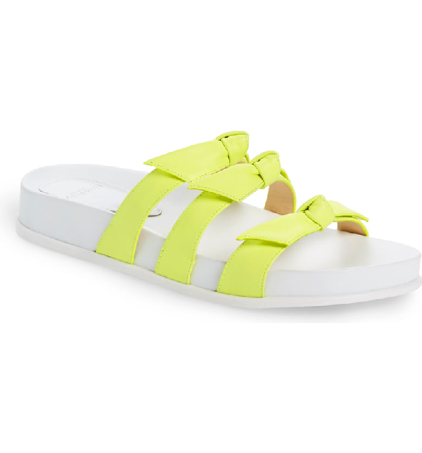 Alexandre Birman Lolita Bow Slide Sandal In Yellow Fluo