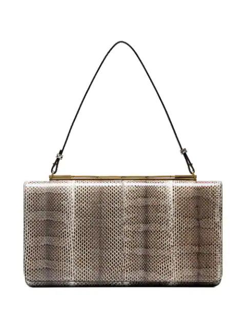 Marni Brown  Cache Snakeskin Oversized Clutch Bag - Neutrals