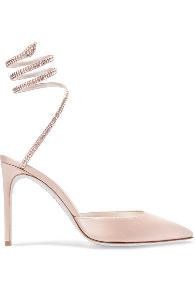 243bee991be0 RenÉ Caovilla Cleo Crystal-Embellished Satin Pumps In Neutral