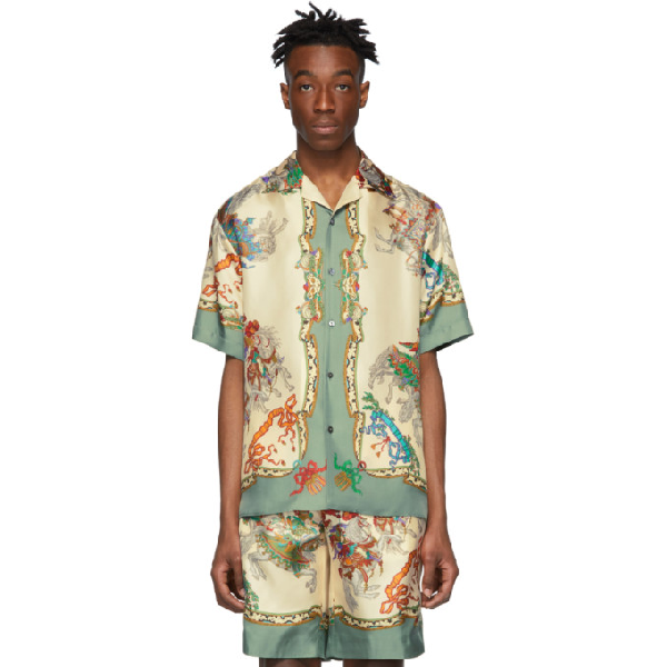 1d30ca9f3 Gucci Silk Bowling Shirt With Jousting Print In Neutrals | ModeSens