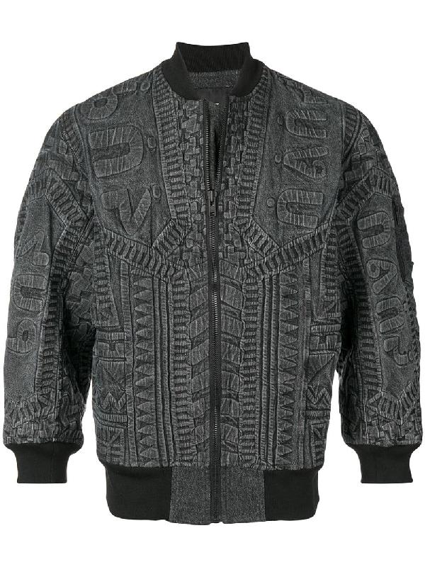 Ktz Textured Bomber Jacket - Black