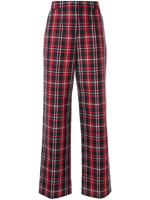 Juun.j Checked Straight Trousers In Red